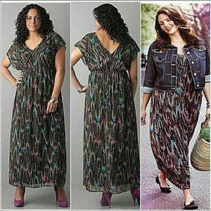 Lane Bryant Feather Print V-Neck Maxi Dress